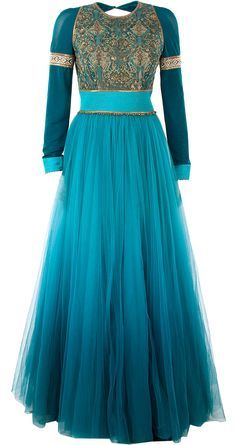 Teal embroidered anarkali set available only at Pernia's Pop-Up Shop.