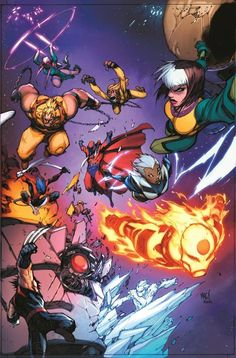 Age of Apocalypse X-Men At by: Joe Madureira X-Men 01 textless variant cover featuring the Age of Apocalypse X-Men! Note that this is obviously before Weapon X ascended to the new Apocalypse ! Hq Marvel, Marvel Now, Marvel Comics Art, Marvel Comic Books, Marvel Characters, Marvel Heroes, Comic Books Art, Joe Madureira, X Men