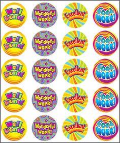 Stickers Swirls. Well done, wonderful work, excellent, good work. Teacher sticker pack. Contains 100 sticker. Merit award.