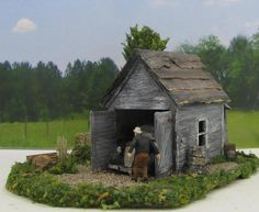 """""""Garage Find"""" Model Train Structure that was scratch built in wood by D.A. Clayton in HO Scale."""