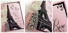 Vintage Paris themed invitation
