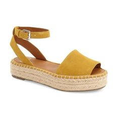 Women's Sarto By Franco Sarto 'Ravenna' Espadrille Platform Sandal (155 CAD) ❤ liked on Polyvore featuring shoes, sandals, golden yellow suede, yellow shoes, summer shoes, espadrille shoes, golden sandals and platform sandals