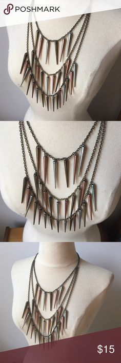 3 Tiered Silver Brass Pewter Spike Necklace 3 Tiered Silver Brass Pewter Spike Necklace Adjustable Jewelry Necklaces
