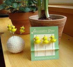 Decorative Pins - 3 decorative glass lampwork straight pins - yellow ducks. $5.50, via Etsy.