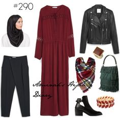 Maroon dress, black pants, leather jacket, black scarf, plaid scarf, red and gold ring and bracelet, green bag, ankle boots