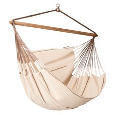 LA SIESTA Habana Nougat Fabric Hammock Chair at Lowe's. Wonderfully spacious and cozy, for a feeling of weightlessness – the Habana Nougat lounger hammock chair, made of organic cotton. Hanging Hammock Chair, Hammock Swing, Swinging Chair, Indoor Hammock Bed, Diy Hammock, Hanging Chairs, Hammock Accessories, Outdoor Furniture, Outdoor Decor