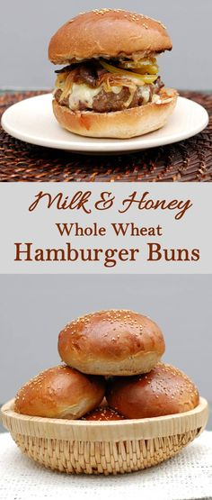 Super soft with a hint of honey sweetness - Milk & Honey Whole Wheat Hamburger Buns are a variation of my most popular bread recipe. Whole Wheat Hamburger Bun Recipe, Whole Wheat Bun Recipe, Homemade Hamburger Buns, Homemade Hamburgers, Homemade Buns, Best Bread Machine, Bread Machine Recipes, Bread Recipes, Milk Recipes