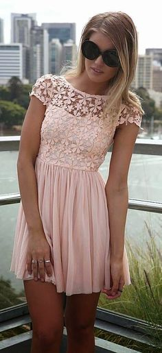 Pink Embroidered Lace Top Dress with Tulle Pleated Skirt, Dress, mini dress crochet dress, Casual