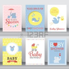happy birthday baby shower for newborn celebration greeting and invitation card or note there are sh Stock Vector