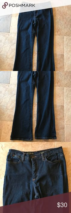 """Not Your Daughters Jeans NYDJ Womens Tummy Tuck Not Your Daughters Jeans NYDJ Womens Size 12P (12 Petite) Inventory #J111 Dark Finish, Boot Cut Tummy Tuck Style P736  Waist: 15"""" Hips: 21"""" Inseam: 29-1/4"""" Front Rise: 11"""" Back Rise: 15""""  Comes from a smoke-free and pet-free home. This item is previously used and clean, but may have marks from normal usage and washing. When flat, it appears that there is some puckering, but this is due to the stretch of the material. It looks fine when…"""