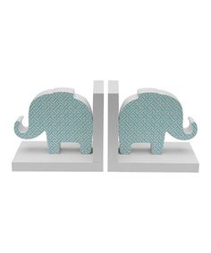Another great find on #zulily! Blue Jay Elephant Bookend - Set of Two #zulilyfinds