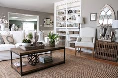 (12th and White: Makeover Round Up: Our House Six Months Later) Walls: Benjamin Moore Silver Fox, trim/built-ins: Simply White.