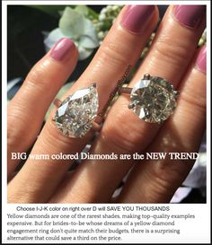 Warm colored diamonds are Much more affordable in larger sizes and LOOK AMAZING  Contact DiamondDirectBuy.com for options