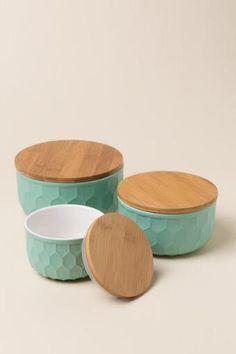 Round Ceramic Mint Lidded Bowl Set