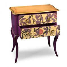 "Louis XV ""Rhododendrons"" is a #shabbychic #dresser by @grangefurniture  It has a top in cherry wood painted with golden profile, lacquered plum with facades of drawers in wallpaper , background fabric drawers"