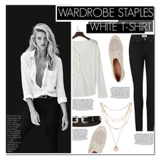 """Wardrobe Staple: White T-Shirt"" by hafsahshead ❤ liked on Polyvore featuring Rebecca Minkoff, WithChic, Paige Denim and Forever 21"