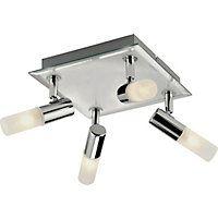 Milano Square Bathroom 4 Spotlight Ceiling Plate - Chrome.