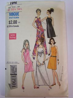 RARE Vintage 1960s Vogue 7312 one piece EVENING DRESS Pattern sz  10 bust 32 1/2 Complete by RaggsPatternStash on Etsy