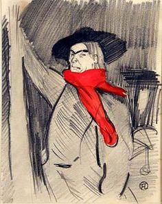 Анри де Тулуз-Лотрек (Henri de Toulouse-Lautreс, 1864-1901) Портрет Аристида Брюана, 1897. Бумага, карандаш, гуашь.