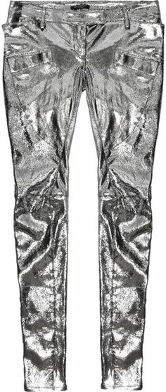 Metallic Leather Pants                                                                Shimmer your way through the new season, Balmain style, with these show-stopping metallic leather pants. Pare them simply with a casual tee for instant It-girl status!