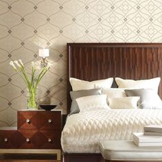 by York Designer Series featured in Candice Olson Modern Nature from York, Contemporary Bedroom Wallpaper Room Set Photos Home Bedroom, Bedroom Furniture, Bedroom Decor, Master Bedroom, Bedroom Ideas, Bedrooms, Modern Wallpaper, Home Wallpaper, Wallpaper Online