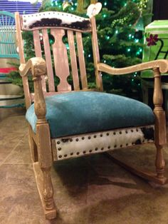 Turquoise and cowhide rocking chair by ROCK'N A FURNITURE Bobbie ashley