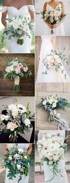 I like the first, top left bouquet. No blue toned greenery - would like to use the eucalyptus and ivy for the cascading greens and would like my flowers to be more white. Similar bouquet for my bridesmaid, but smaller and more of our colors - light blush and rose.
