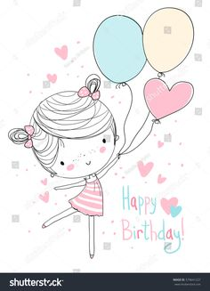 Find Girl Holding Balloons Happy Birthday stock images in HD and millions of other royalty-free stock photos, illustrations and vectors in the Shutterstock collection. Happy Birthday Drawings, Happy Birthday Girls, Happy Birthday Balloons, Birthday Greetings, Birthday Wishes, Birthday Cards, Girl Cartoon, Cute Cartoon, Girl Holding Balloons