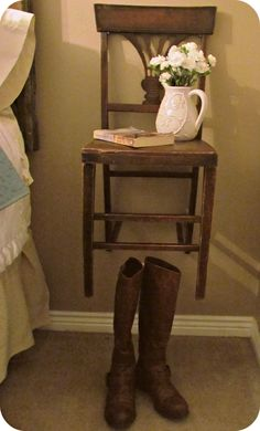 rustic chair becomes nightstand! i don't like on the wall, but love the idea of a rustic chair on both sides instead of tables. Old Chairs, Antique Chairs, Rustic Chair, Rustic Decor, Repurposed Furniture, Diy Furniture, Funky Home Decor, Interior Decorating, Interior Design