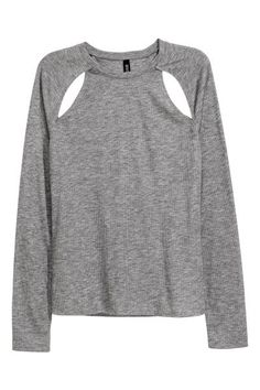 Long-sleeved top in ribbed jersey with cut-out sections front and back.