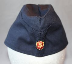 Vintage Navy Blue Garrison Hat, East Germany, 1970's by ilovevintagestuff on Etsy