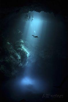 Scuba Diver Descends into the Pit Cenote in Mexico Photographic Print at AllPosters.com