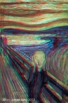 Edvard Munch - The Scream viewable with red/cyan glasses. #1 image searched in personal 3D art website.