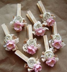 Shabby Chic Nursery PINK decorated Clothes Pins by ilovethis