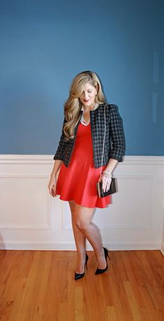 Red dress with tweed blazer and Christian Louboutin heels Valentine's Day fashion inspiration