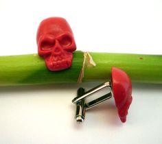 Skull Cufflinks in red Grooms Cufflinks by BijHotGallery on Etsy
