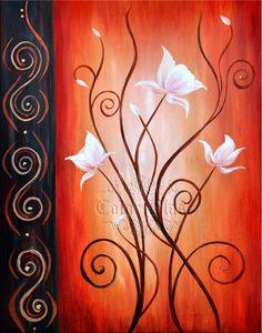 Loto blanco flores blancas sobre fondo naranja. 11 x por colorblast