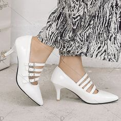 Buckle Straps Pointed Toe Pumps