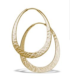 Win -  Oval Hoop Earrings, Hammered 14k Yellow EcoGold, 40mm long. Sug. Retail: $1010 July 21ST!