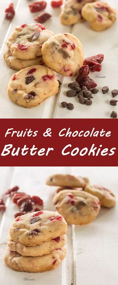 Fruits and Chocolate Butter Cookies with dried Cherry, dried Raspberry ...