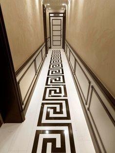 Hall way flooring design - Such a design is also called the Greek fret or Greek key design, although these are modern Floor Design, Tile Design, House Design, Key Design, Greek Design, Best Flooring, Interior Decorating, Interior Design, Floor Patterns