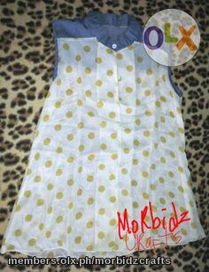 chiffon blouse denim with yellow polkadots Denim Blouse, Shop Now, Polka Dots, Chiffon, Retail, Summer Dresses, Yellow, Stuff To Buy, Shopping