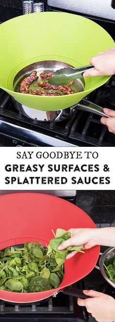"""Frywall's 10"""" splatter guard, discovered by The Grommet, keeps fry spatter from spraying your stove, walls, and clothing."""
