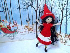 Handmade Christmas Elf Bendy Doll Red Dress Black Hair Miniature Doll Holiday Decor Bendy Friend