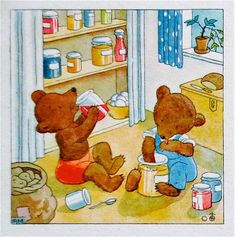 Illustration Bears Baking | ida bohatta vintage mini bookmark