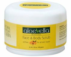 Face & Body Scrub 90% Aloe Vera 7.05 oz by Aloe Vella. $17.95. For the face and body. Erases scars, minor cuts and scratches. Cleanses skin. Removes dead cells. Pleasant apricot scent. Designed to cleanse the skin while removing marks and cuts for a clearer complexion.  Infused with over 90% organic Aloe Vera, it reduces the appearance of scars.    Oil free formula scented with real apricots leaves the skin clean and refreshed.