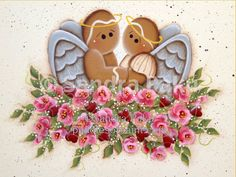 E-Pattern. Gingerbread Angels Originals Art by Sandra Paku pdf pattern Painted Rocks, Hand Painted, Craft Projects, Projects To Try, Gingerbread Man, Gingerbread Cookies, Pintura Country, Paint Shop, Tole Painting