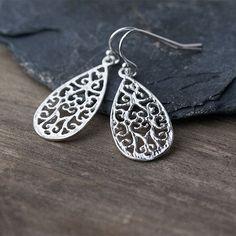 Filigree Teardrop Sterling Silver Earrings / Sterling Silver Jewelry by burnish