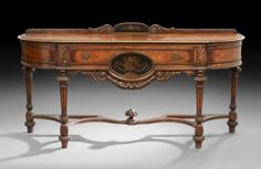 ~ Ca. 1920's American Carved Walnut, and Paint-Decorated Server/Sideboard ~ liveauctioneers.com