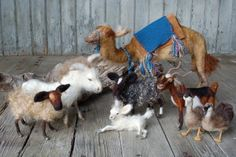 Needle Felted Sheep Nativity by SarafinaFiberArt on Etsy, $95.00